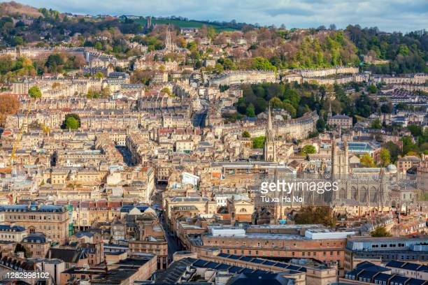 a bird-eye view of bath centre from alexandra park - bath england stock pictures, royalty-free photos & images
