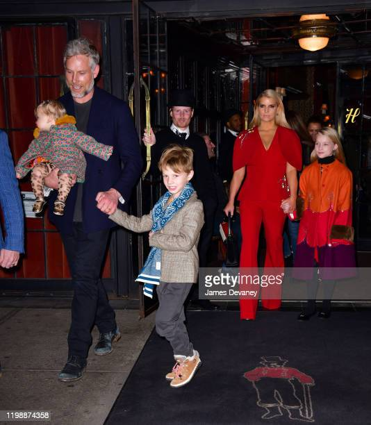 Birdie Mae Johnson Eric Johnson Ace Knute Johnson Jessica Simpson and Maxwell Drew Johnson seen on the streets of Manhattan on February 4 2020 in New...