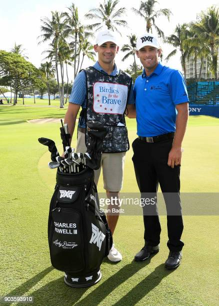 Birdies for the Brave caddie Kyle Golonski and Charles Howell III pose for a photo during the proam for the Sony Open in Hawaii at Waialae Country...