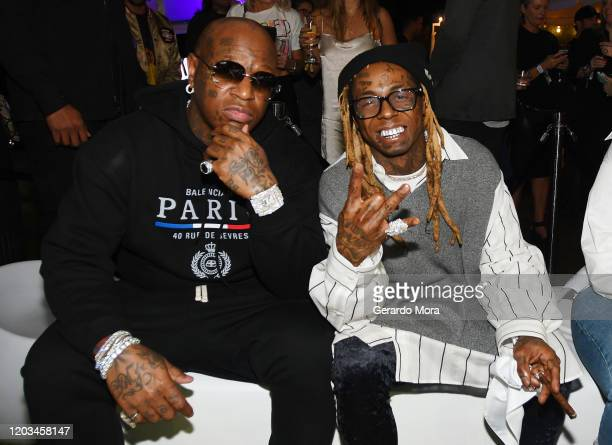 Birdman and Lil Waune attend Lil Wayne's Funeral album release party on February 01 2020 in Miami Florida