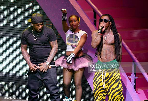 Birdman and Lil Wayne perform at James L Knight Center on July 24 2012 in Miami Florida