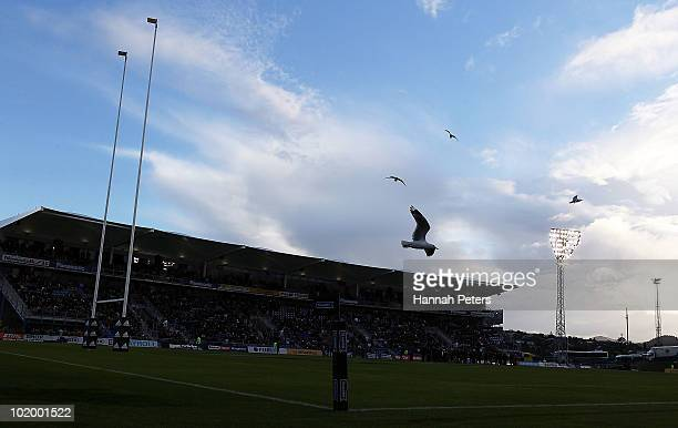 Birds circle over the new stadium before the rugby union match between New Zealand Maori and New Zealand Barbarians at Toll Stadium on June 12 2010...
