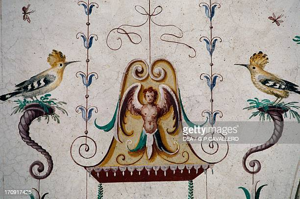 Birds detail from the frescoes in the vault of the Grotesque Hall Manta Castle Saluzzo Piedmont Italy