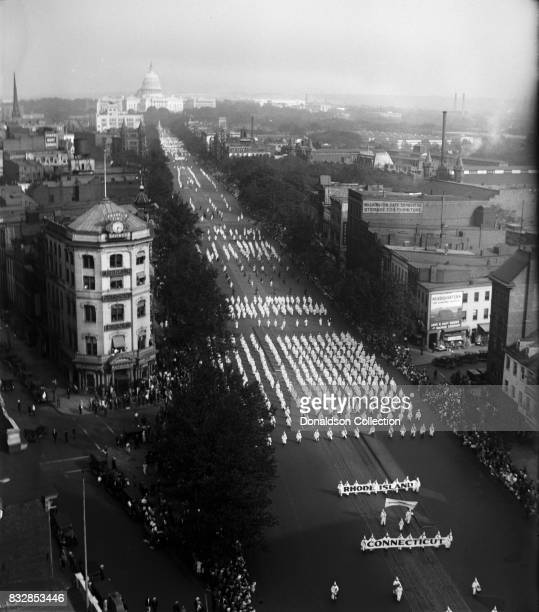 Bird's eye vied ow Ku Klux Klan parade down Pennsylvania Avenue with the Capitol building in the background on September 13, 1926 in Washington, D.C.