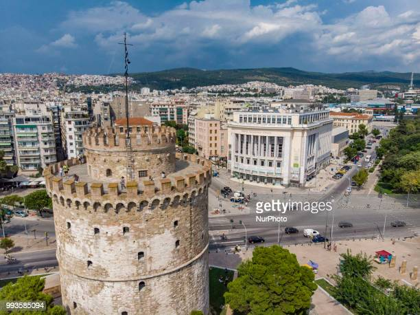 Bird's eye view from a drone capturing amazing aerial pictures of Thessaloniki's main landmark the White Tower Thessaloniki is the second largest...