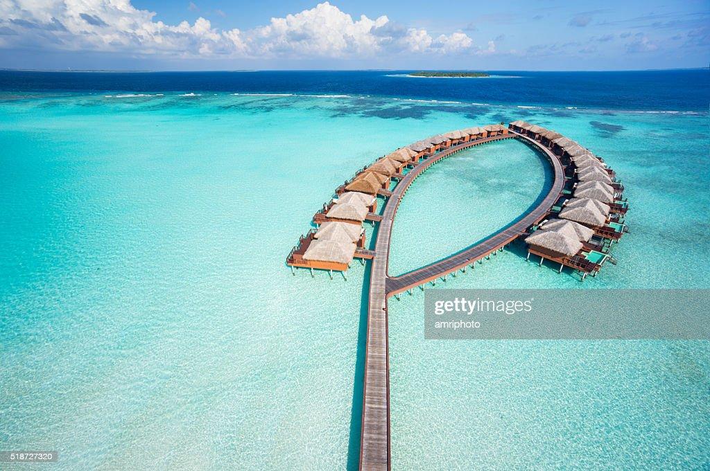 bird's eye view luxury overwater villas : Stock Photo