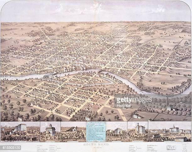 Bird's eye view map of South Bend, Indiana, by Albert Ruger, a prodigious producer of such maps. 1866