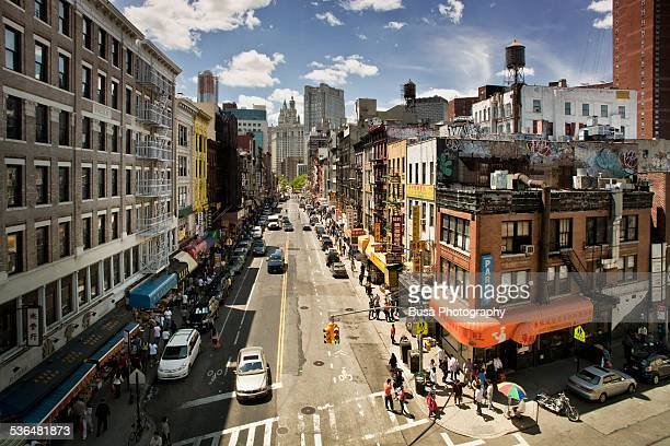 bird's eye view of a crossroad in chinatown, nyc - 中華街 ストックフォトと画像