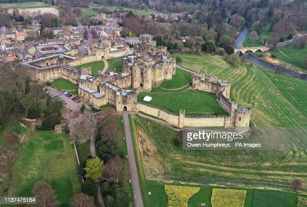 A bird's eye view of Alnwick Castle in Northumberland The castle is the home of the Duke and Duchess of Northumberland and featured in the Harry...