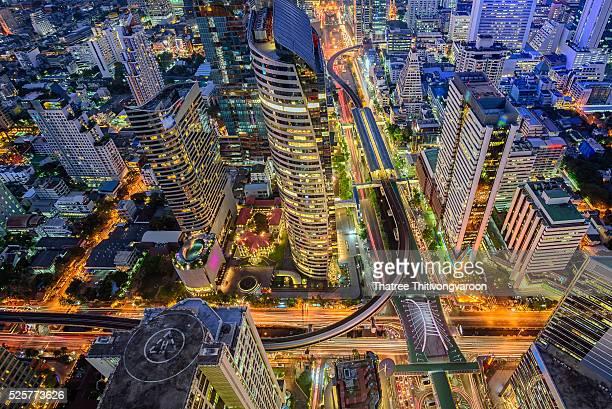 Birds eye view of Bangkok city night