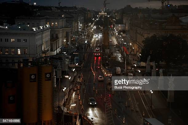 Bird's eye view of constructions at Unter den Linden at night. Central Berlin, Germany
