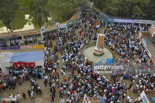 A birds eye view of Ekushey book fair or Amar Ekushey Grantha Mela 2007 at Bangla Academy premises in Dhaka Bangladesh It is the main book fair of...