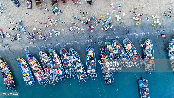 Bird's eye view of fishing market on beach, China