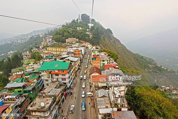 birds eye view of gangtok - hema narayanan stock pictures, royalty-free photos & images