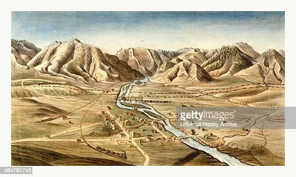 Bird's Eye View Of Golden City, Jefferson County, Colorado Territory By Alfred Edward Mathews, 1831 1874, Us, USA, America.