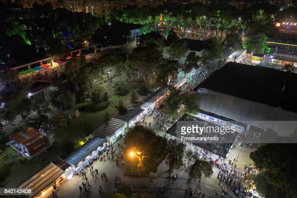 bird's eye view of izmir international fair at night. - emreturanphoto stock pictures, royalty-free photos & images
