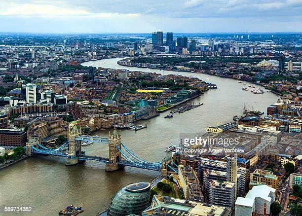 Bird's eye view of London cityscape