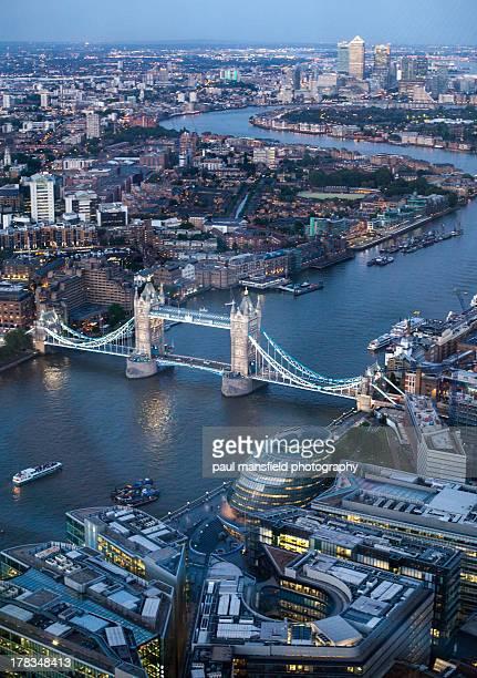 Bird's eye view of London skyline