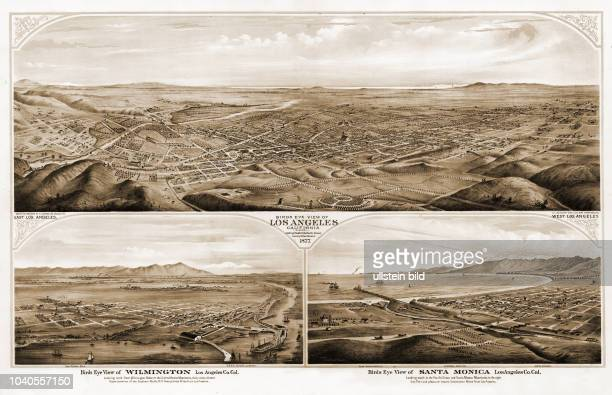 Birds eye view of Los Angeles, Santa Monica and Wilimgton. E.S.Glover, Los Angeles, 1877