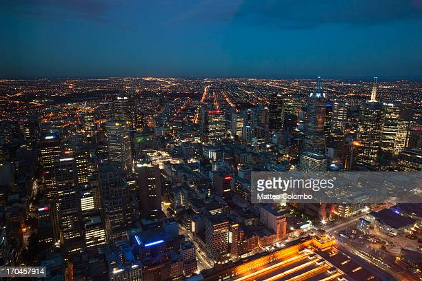 Bird's eye view of Melbourne city at night