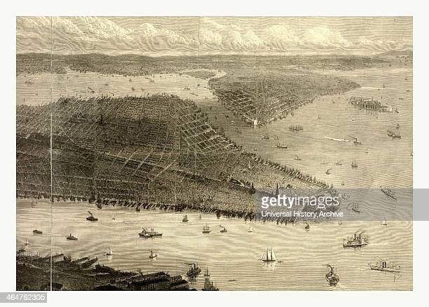 Bird's Eye View Of New York City New York Showing Battery Park On The Right And Central Park On The Left Also Visible Are The Foundations For The...