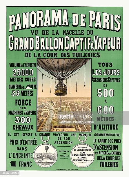 Bird's Eye View Of Paris To Advertise Balloon Ascensions At The 1878 World's Fair France And The Basket Of Henri Giffard's Captive Balloon 1878