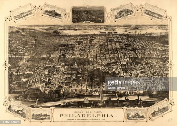 Bird's eye view of Philadelphia between the Schuykill River. In the foreground. And the Delaware River in the background by John P. Hunt & Co. Circa...
