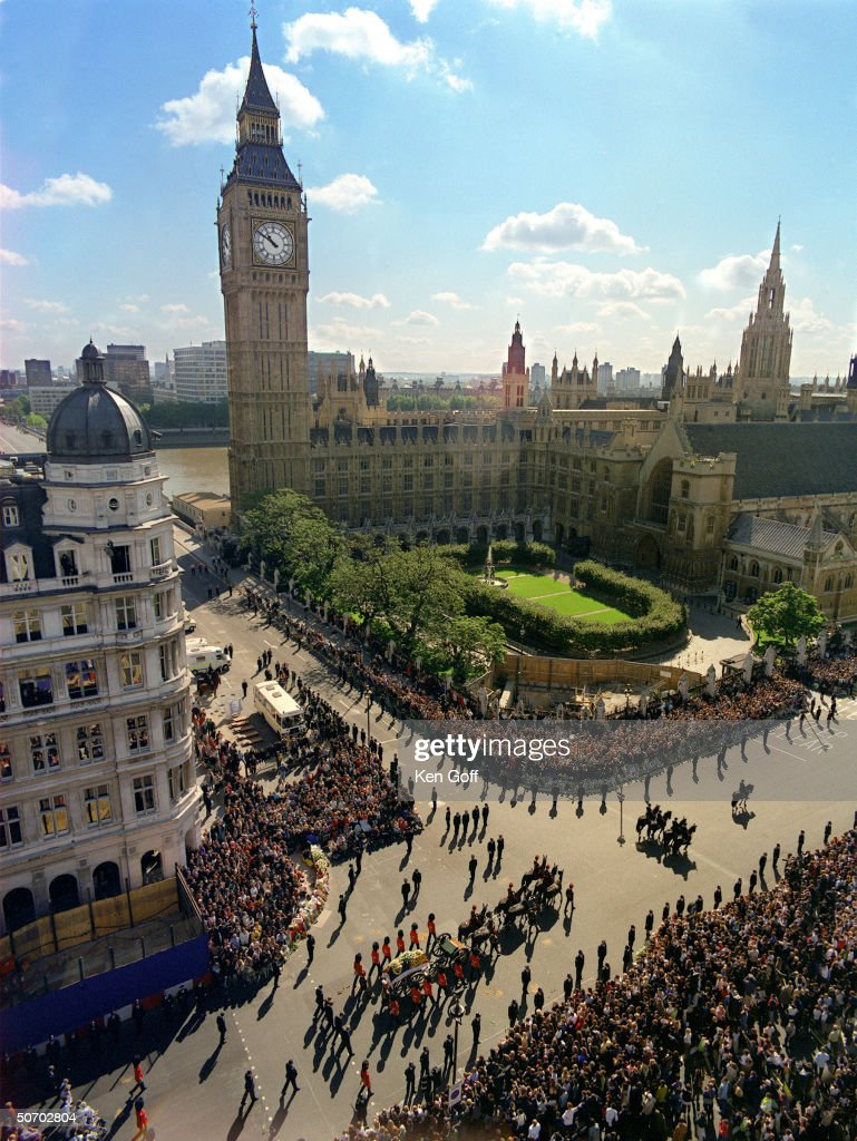 Bird's eye view of Princess Diana's funeral cortege passing by Big Ben.