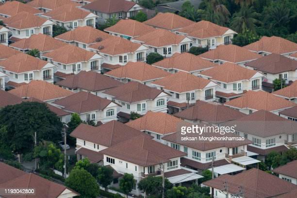 bird's eye view of residential area - 多様性  ストックフォトと画像