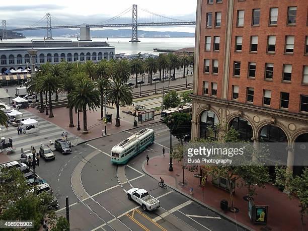 Bird's eye view of San Francisco's Market Street, Embarcadero area, US