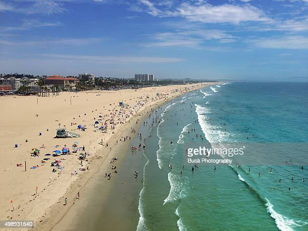 Bird's eye view of Santa Monica beach, Los Angeles County