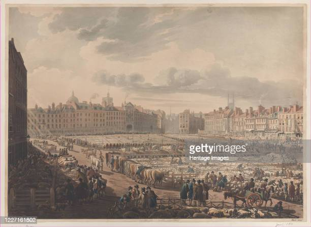 A Bird's Eye View of Smithfield Market Taken from the Bear Ragged Staff January 1 1811 Artist J Bluck