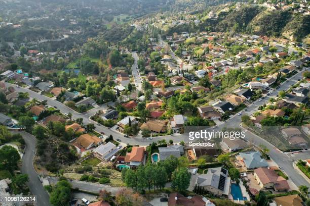 birds eye view of southern california suburban sprawl - drone photo - small town stock pictures, royalty-free photos & images