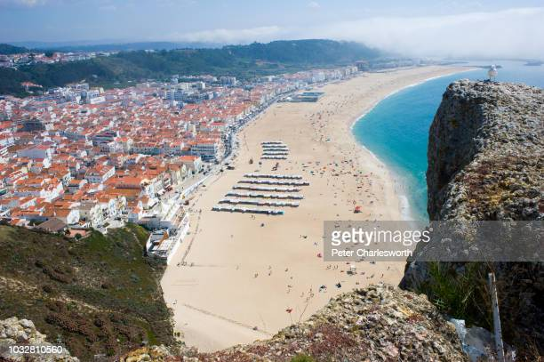 A bird's eye view of the Atlantic Ocean and the south beach at Nazare a favourite place for surfers where the largest surfing waves can be found