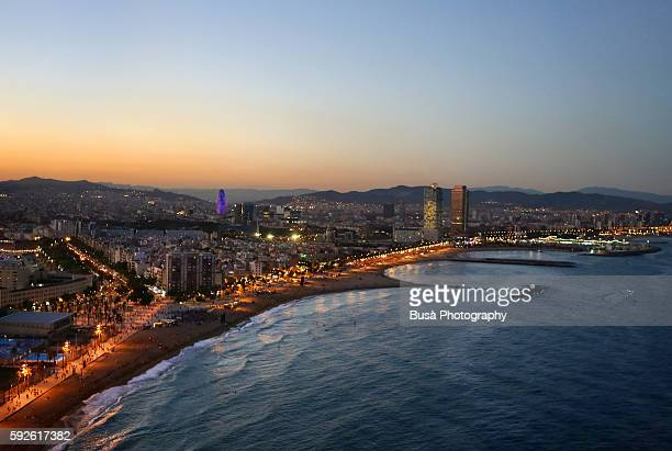 Bird's eye view of the Barcelona Bay at twilight, from the top of the W Hotel. Barcelona, Catalonia, Spain
