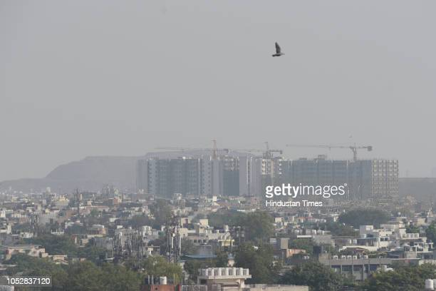 A birds eye view of the city from Nehru Place as city witnesses bad air quality on October 23 2018 in New Delhi India The air quality of Delhi...