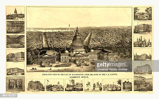 Birds Eye View Of The City Of Washington From The Dome Of The USA Capitol Looking West A Sachse Co Between 1860 And 1890 Us USA America