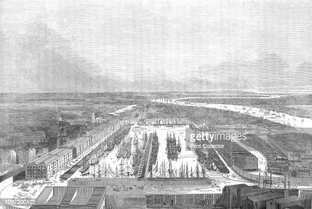 Bird's eye view of the London Docks, 1845. Sailing ships in dock on the River Thames. 'The London Docks are separated from St. Katharine's by...