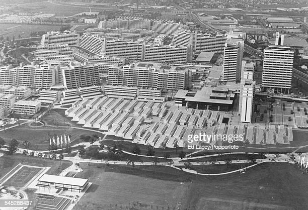 Birds eye view of the Olympic Village, where the notorious Munich Massacre took place during the Olympic Games, Munich, Germany, 1972.