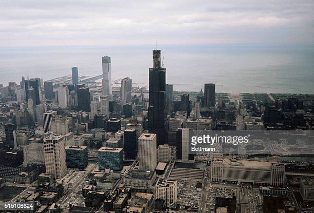 Bird's eye view of the world's tallest building the Sears Tower during topping out ceremonies 5/3 The 110story450 foot office structure which is...