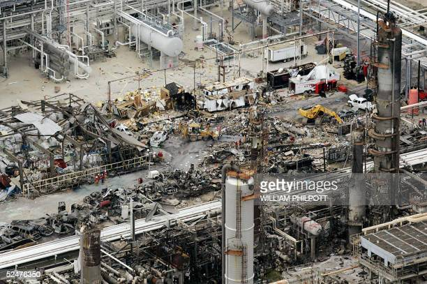 A birds eye view of the wreckage at the BP facility in Texas City 55 kilometers south of Houston 24 March 2005 after an explosion 23 March The death...