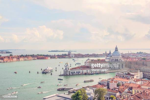 bird's eye view of venice rooftops and the grand and giudecca canals - gran canal venecia fotografías e imágenes de stock