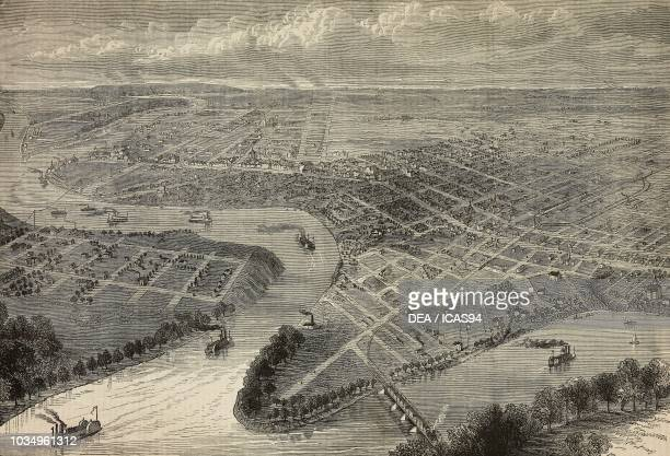 Bird's eye view of Winnipeg Manitoba Canada engraving from The Illustrated London News No 2209 September 17 1881