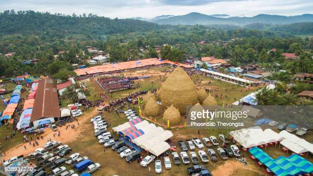 Bird's eye view of Xayaboury's great rice stack festival