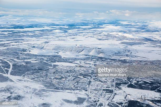 A birds eye view over Kiruna in Swedish Lapland