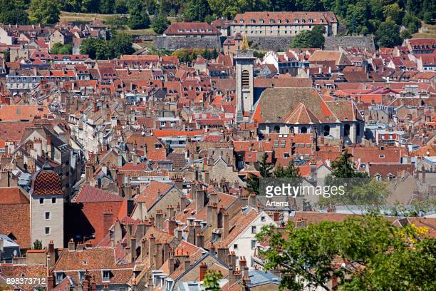 Bird's eye view over the old city and the eglise Saint-Pierre / St Peter's church of Besancon, Doubs, Bourgogne-Franche-Comte, France.