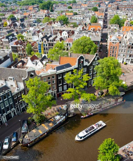 """bird's eye view over the prinsengracht in springtime amsterdam with the famous canals - """"sjoerd van der wal"""" or """"sjo"""" stock pictures, royalty-free photos & images"""