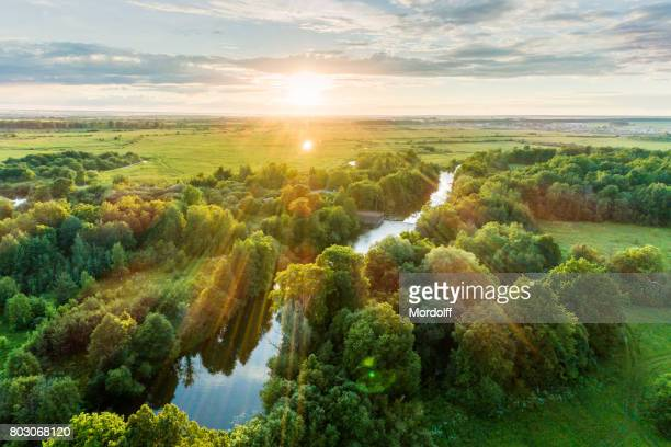 Bird's Eye View. Summer Scenic Landscape At Sunset