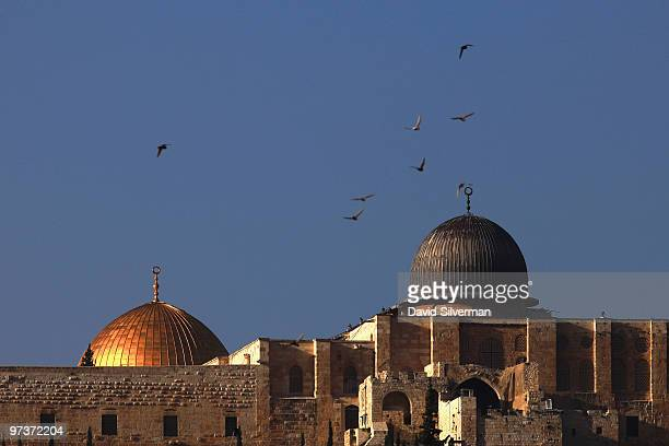 Birds fly over alAqsa mosque and the golden Dome of the Rock Islamic shrine on March 2 2010 as seen from the East Jerusalem neighborhood of Silwan...