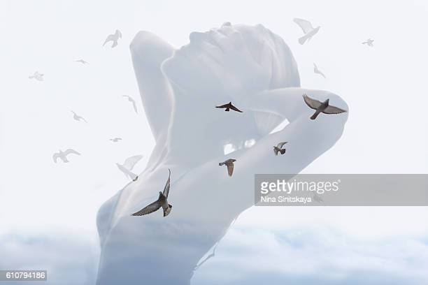 Birds in the sky and woman's body - double exposure image